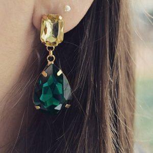 Les P'tits Coups de Coeur | Boutique Bijoux Femme Tendance 2017 | Boucles d'oreilles Émeraude Vert et Jaune portées