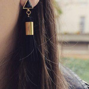 Les P'tits Coups de Coeur | Boutique Bijoux Femme Tendance 2017 | Boucles d'oreilles Pompon Noires portées