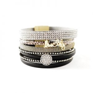 Les P'tits Coups de Coeur | Boutique du Bracelet Femme Tendance 2017 | Bracelet Manchette Magnétique Lucky Noire