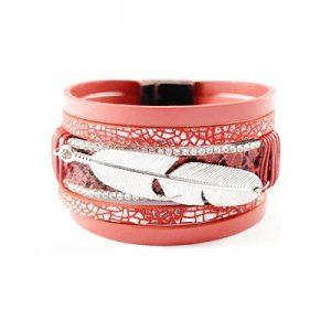 Les P'tits Coups de Coeur | Boutique du Bracelet Femme Tendance 2017 | Bracelet Manchette Magnétique Plume Rouge