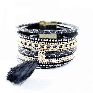 Les P'tits Coups de Coeur | Boutique du Bracelet Femme Tendance 2017 | Bracelet Manchette Magnétique Pompon Noire