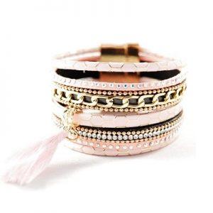 Bracelet manchette Pompon rose non porté