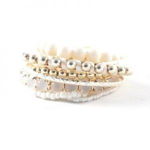 Bracelets élastiques assortis blancs