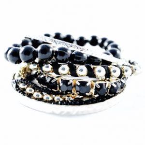 Bracelets élastiques assortis noirs