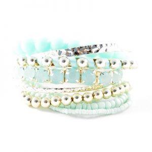 Bracelets élastiques assortis turquoises
