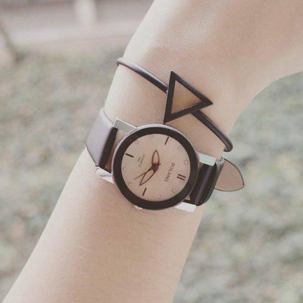 Bracelet jonc triangle noir & Montre feuilles noires