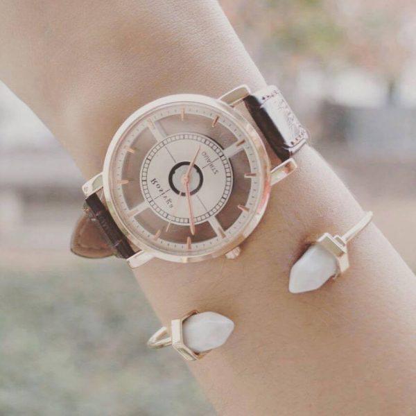 Bracelet cristaux acrylique & Montre cadrant transparent marron