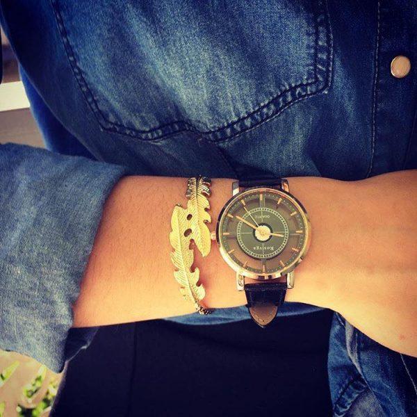 Les P'tits Coups de Coeur | Boutique Bijoux Femme Tendance 2017 | Bracelet Jonc Plume Or & Montre Cadrant Transparent Noire portés